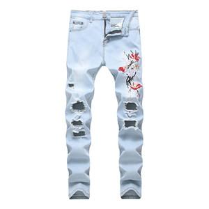 Los hombres pantalones de algodón siguen clásico jeans pierna recta y vaqueros rotos azul grande Dropshipping, todas las estaciones de moda