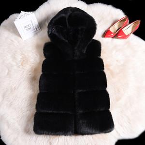 Fashion streetwear warm faux fur hoody vest coat parka winter fluffy teddy bear coat women plus size 4xl Patchwork Fur coat 200921