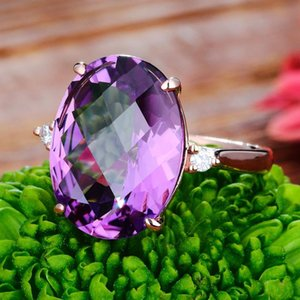 2020 new luxury gold Purple color oval engagement ring for women lady anniversary gift jewelry bulk sell moonso R5800