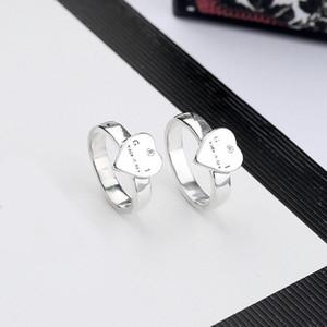 Женщины Сердце палец кольцо Письмо Сердце Кольцо с Stamp Бижутерия Аксессуары Подарок для любви Girlfriend высокого качества