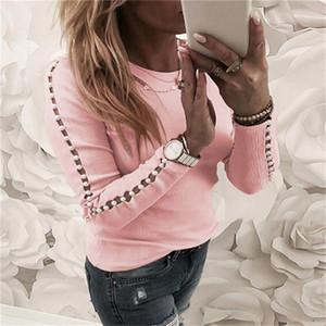 Women Ladies Autumn T Shirt Tops Long Sleeve Loose Rhinestones Tee Slim Elegant Crew Neck Casual