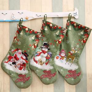 Christmas Party Große Strümpfe Deer Snowman Weihnachtsmann-Druck-Geschenk-Beutel hängende Ornamente Weihnachtsschmuck DDA527