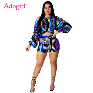 Adogirl Plus Size S-3XL Colorful Stripe Women Casual Two Piece Set Off Shoulder Puff Sleeve Twist Loose Crop Top + Summer Shorts 200919