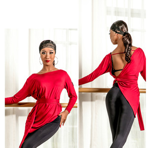 latin dance dress black red Tie knot hollow skirt modal soft competition performace dress sexy latin costume women wear