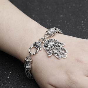 Hot Selling Fashion men bracelet 925 Silver Fatima palm devil's Eye Bracelet popular in Europe and America