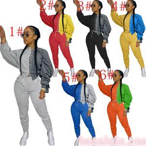 Moda feminina em dois peças Set Sexy manga comprida costura contrastante Top Calças Outfits Ladies FashionT Shirt Calças Hot Roupa descontraída