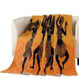 Arancione Giallo donne africane danza stampato Oversize estate Quilt Copriletto Coverlet Coperta Consolatore copriletto Tessile per la casa
