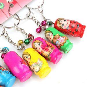 12Pcs Set Russian Nesting Dolls Key Ring Babushka Matryoshka Figurines Kids Toy