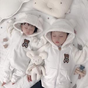 Herbst-Winter-neugeborene Baby-Strampler Fleece-Overall Pullover Overall Kleinkind Mädchen Jungen warme Jacke Neugeborene Toddle Baby-Overalls