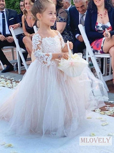 Nette lange Hülsen-Blumen-Mädchen-Kleider 2020 Kleinkind-Kleid mit großer Bogen-Pagode Ärmel Hochzeit Party-Geburtstags-Baby-Kleid