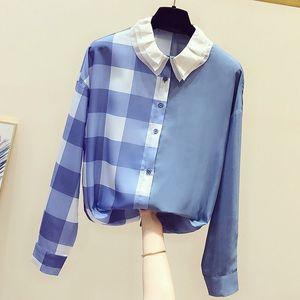 Цвет Блок Женские рубашки 2020 Новая осень однобортный Turn Down Воротник с длинным рукавом Рубашки Casual Женщины Топы офис леди