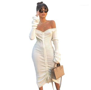 Womens Sexy Knit Pleated Dress Woman Autumn Wintter Solid Color Deep V-neck Bandage Dresses Women Fashion Casual Clothes