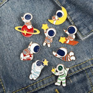 universe spaceman Star Moon Enamel Lapel Pins Jewelry Outer Space Cartoon Student Backpack cowboy Accessory Button Broach Girl Pin Badge