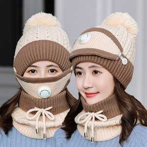 Acrylic women knitted cap scarf winter bomber hats neckerchief with velvet and thick warm ear protection bonnet for girls