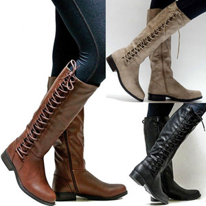 #89 #8 #01 Fashion Over-the-knee Boots Women Leather High Boots Female Winter Thigh High Booties Lace Up Flat Motorcycle Plus Size 43