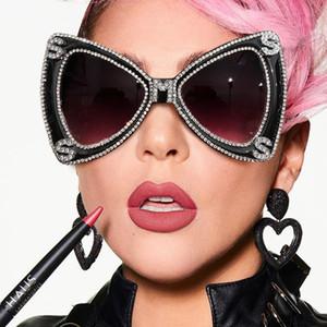 Sen Maries-Diamant-Frauen 2020 Luxulry Marke Schmetterling übergroße Sonnenbrille-Männer Weinlese-Kristallgläser UV400 Oculos 7T7Q