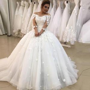 3D Flora Asppliques Ball Gown Wedding Dresses 2021 Illusion 3 4 Long Sleeve Bridal Gowns Plus Size Dress Vestido
