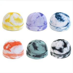 Hip nuevo punto Beanie Mujeres 2020 Sombreros de invierno de lana teñido anudado de la calle sombrero al aire libre del sombrero de Hip corto de punto Escutelaria DDA553