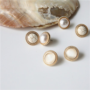 Sugar Town Round Marble Opal Stone Stud Earrings for Women Simple Temperament Simulated Pearl Party Brinco Jewelry