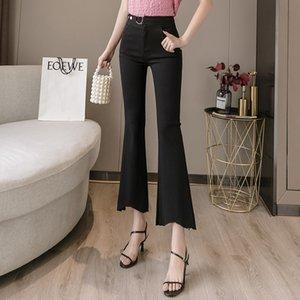 2020 pantaloni il vestito di autunno di nuovo stile di modo delle donne micro pantaloni neri Trumpet Capri femminile Hong Kong Sapore CHIC vento Xiu Shen