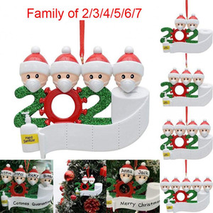 2020 Christmas Ornament DIY Greetings Quarantine Christmas ornaments Party Pandemic Social Distancing Christmas Tree Pendant Accessories r1