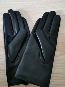 Тенденции моды, зимняя женская теплая кожаные перчатки, сенсорный экран овчина палец перчатки,