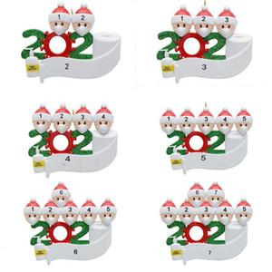 2020 Quarantine Décoration de Noël Résine Arbre Boule de Noël en cas de pandémie Parti social Eloignement Père Noël avec masque 2,3,4,5,6,7 Personnes