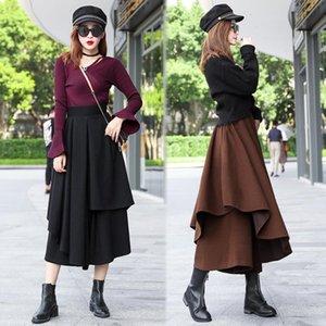 HAYBLST Marque femme Jupe 2020 Automne Hiver Jupes Femmes plus Taille Vêtements taille Grand coréenne style élégant lainages Tissu