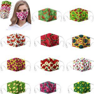 100PCS desinger masque de fruits Imprimer adulte Masques Lavable Safet antipoussière Haze réutilisable PM2,5 ajustable Masque de protection Designer DHF276