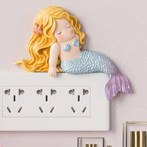 Switch Stickers Decorative Wall Stickers Socket Frame Protective Case Living Room Creative Mermaid Switch Light Luxury Bedroom Home Nordic
