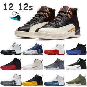 Indigo Jumpman or université 12 12s chaussures de basket-ball CNY 2019 jeu grippe université blanc rouge formateurs de noir hommes de taxi bleu Roayl