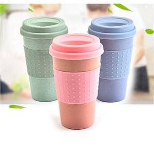 저렴한! 3 스타일 ECO 밀 짚 섬유 커피 잔 12온스 자동차 컵 사무실 커피 잔의 성격 플라스틱 바디 실리콘 뚜껑 커피 잔 텀블러