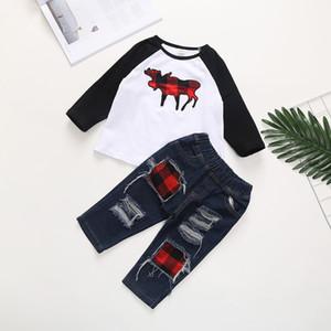 2021 Hot Boys Christmas Clothes Set 90-130cm Toddler Children Clothing suit Elk Print T-shirt+Hole Denim 2pcs Cotton LongSleeve Outfit A9013