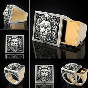 Linmouge Невидимый ящик для хранения Hidden коробка кольца Vintage Мужские кольца Личность Ретро Punk Lion Hip Hop Viking Jewelry RF40