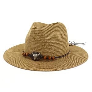 2020 Women Straw Sun Hats Khaki Ethnic Summer Fedora Hat Ladies Vintage Decoration Bow Female Brand Beach Panama Jazz Hat