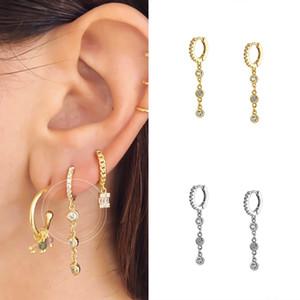 Argent 925 pendentif en cristal Hanging Huggie Boucles d'oreilles Hoop Or Argent Couleur minuscules Créoles Minimaliste Bijoux