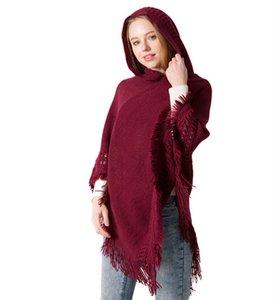 Tricotar Poncho lenços inverno quente borla lenço xales manto chapéu para as mulheres Enrole Lenços Tops Acessórios de Moda do navio da gota