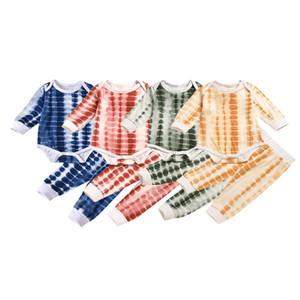 0-24M miúdo recém-nascido Baby Boy Girl Clothes set Tie Dye manga comprida Bodysuit Romper Top pant terno bonito recém-nascido Adorável Outfit