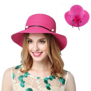 Hat Straw Cool Summer New Style Big Brim Sun hat Outdoor Leisure UV Breathable Cap Pearl Flower Bucket Fashion Female