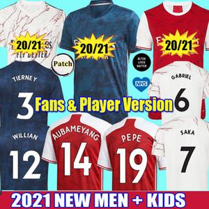 2021 عدد المعجبين لاعب أرسين لكرة القدم جيرسي ويليان بيبي صليبا GABRIEL 20 21 تيرني SAKA NICOLAS ارسنال قمصان كرة القدم الرجال الاطفال طقم ملابس