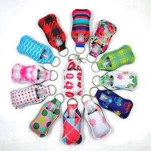 Neoprene Hand Sanitizer Bottle Holder Keychain Bags 30ml Hand Sanitizer Bottle Wristlet Keychain Chapstick Holder Free Bottle NWF2621