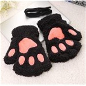 1 Pair New Women Girls Lovely Fluffy Bear Cat Plush Claw Half Finger Gloves Mitten Winter Warm Fingerless Gloves Xew