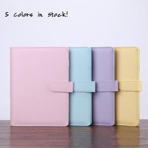 SEA 5 개 색상 A6 빈 노트북 바인더 19 * 13cm 종이 PU 가짜 가죽 커버 파일 폴더 나선 플래너 방명록없이 느슨한 잎 노트북