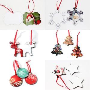 Süsleme AHE1778 Asma Noel Sıcak Transfer Baskı Boş Coaster Yuvarlak kar tanesi Noel ağacı Geyik Tasarım MDF Blank