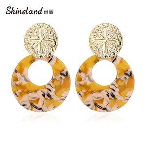 Shineland Mode Vintage Big résine Boucles d'oreilles pour les femmes 2020 New Acetic Acid Grand Acrylique Boucles d'oreilles à la mode Bijoux Charm