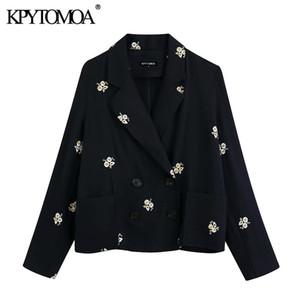 KPYTOMOA Frauen 2020 Mode zweireihige Blumenstickerei Blazer-Mantel-Weinlese-lange Hülsen-Taschen Female Oberbekleidung schicke Tops