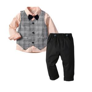 Boy's Dress Suit Formal Clothes Long Sleeve Shirt Bow Tie Vest Pants 4pcs set Gentleman Style Tops Trousers For Children Kids