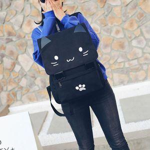 LJL 패션 귀여운 고양이 자수 캔버스 학생 가방 만화 여성 배낭 레저 학교 가방 rnvO 번호