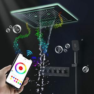스마트 욕실 주도 음악 스피커 검은 샤워 헤드 세트 천장 광장 비 폭포 안개 낀 3 개 기능 손 샤워 꼭지 시스템