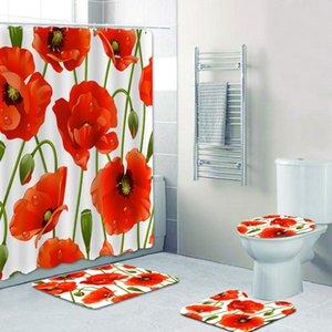 매트 세트 매트 온라인 비 샤워 커튼 꽃 우아한 정품 슬립 4 개는 저렴한 패턴 PJUSE의 mj_bag 설정